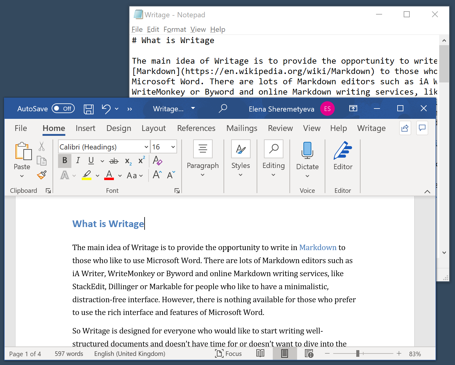 writage markdown plugin for microsoft word
